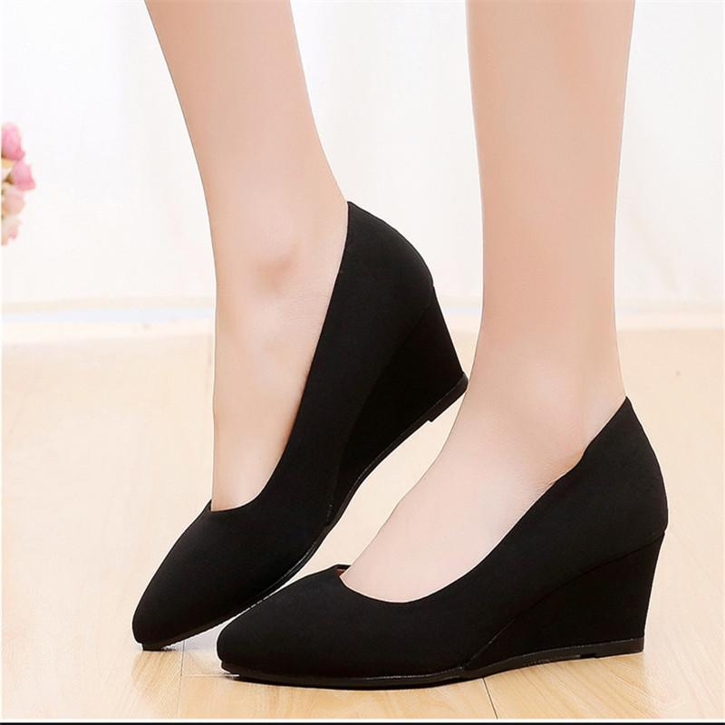 51158bd2db24 Dress Spring New Wedge Heel Shoes Pointed Black Work Shoes Women Cloth  Wedge Shoes 35 40woman High Heels Pumps Pointed Toe Ladies Shoe Cheap Shoes  Dansko ...
