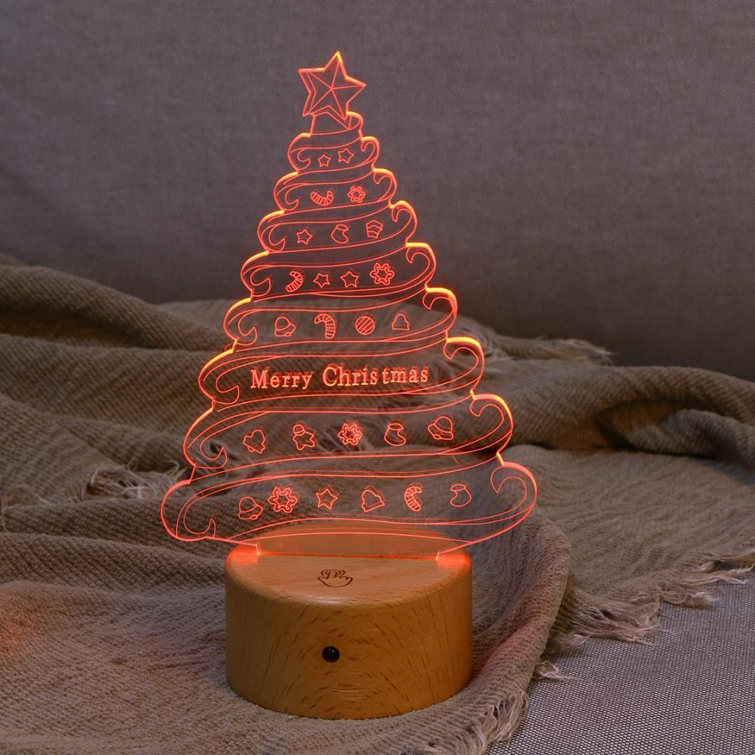 3d Effect Led Table Lamp Christmas Tree Usb Powered Night Light