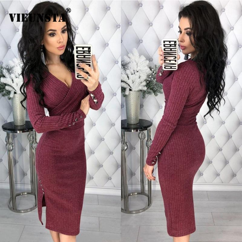 b5c5fcb073a3 2019 Vieunsta Solid Deep V Neck Rib Knit Bodycon Dress Women Casual Long  Sleeve Wrap Club Party Dress Elegant Autumn Winter Dresses Y19012201 From  Tao02