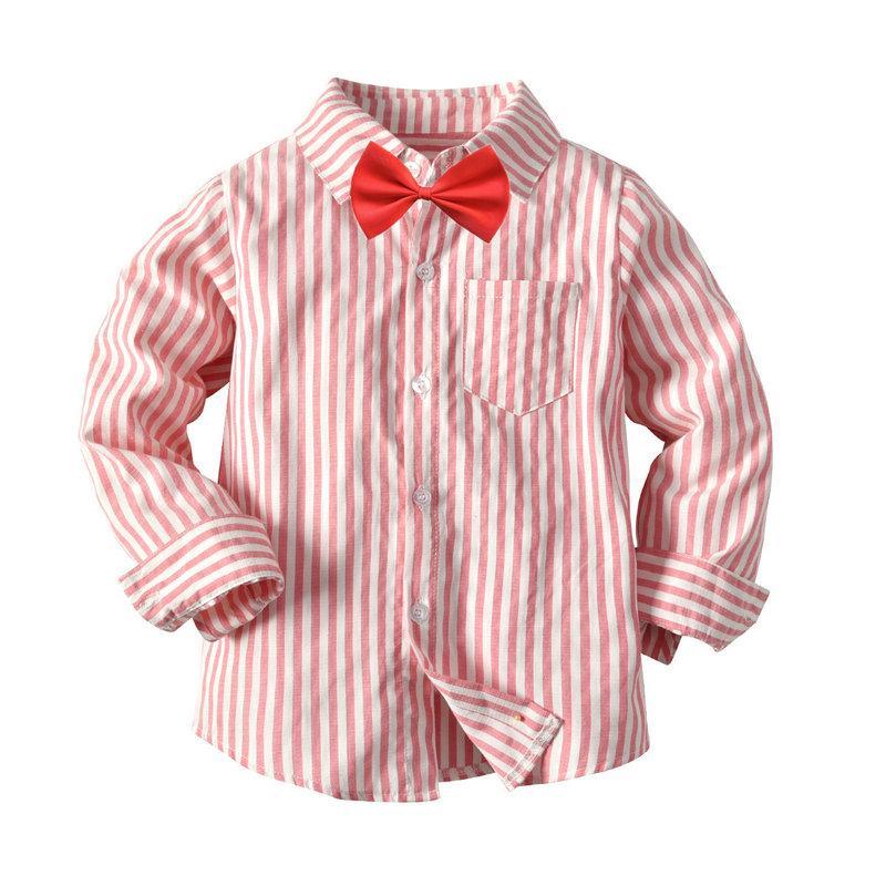 aca64e45e Boys Tie Shirt Long Sleeve Pink Striped Kids Shirt Fashion Casual Children  Shirts Hot New 1T 7T Boys Kids Tops Birthday T Shirts For Kids Kids  Superhero ...