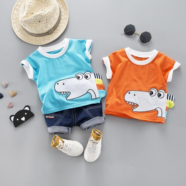 25f277834 Niño lindo bebé niño niña ropa conjunto 2019 verano dinosaurio de dibujos  animados camiseta impresa 2019 verano niños ropa infantil niños traje