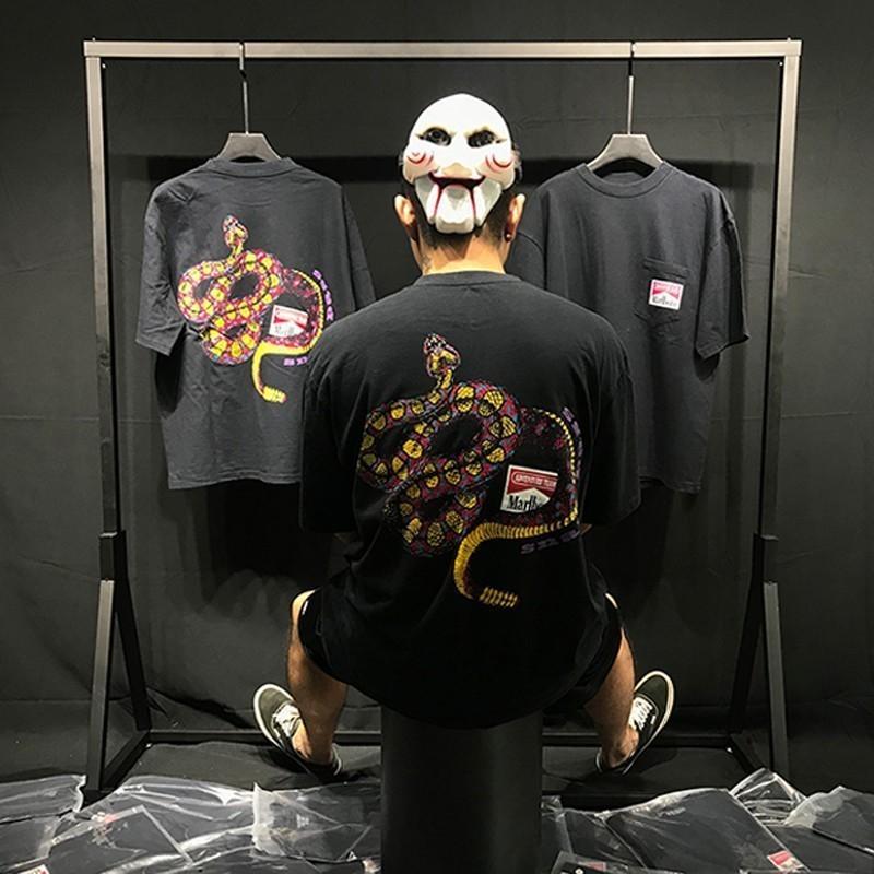 19SS Rhude REMIX Snake Pass Tee ASAP ROCKY Summer Street Short Sleeves  Fashion Casual Vintage Men Women T-shirt HFYMTX424