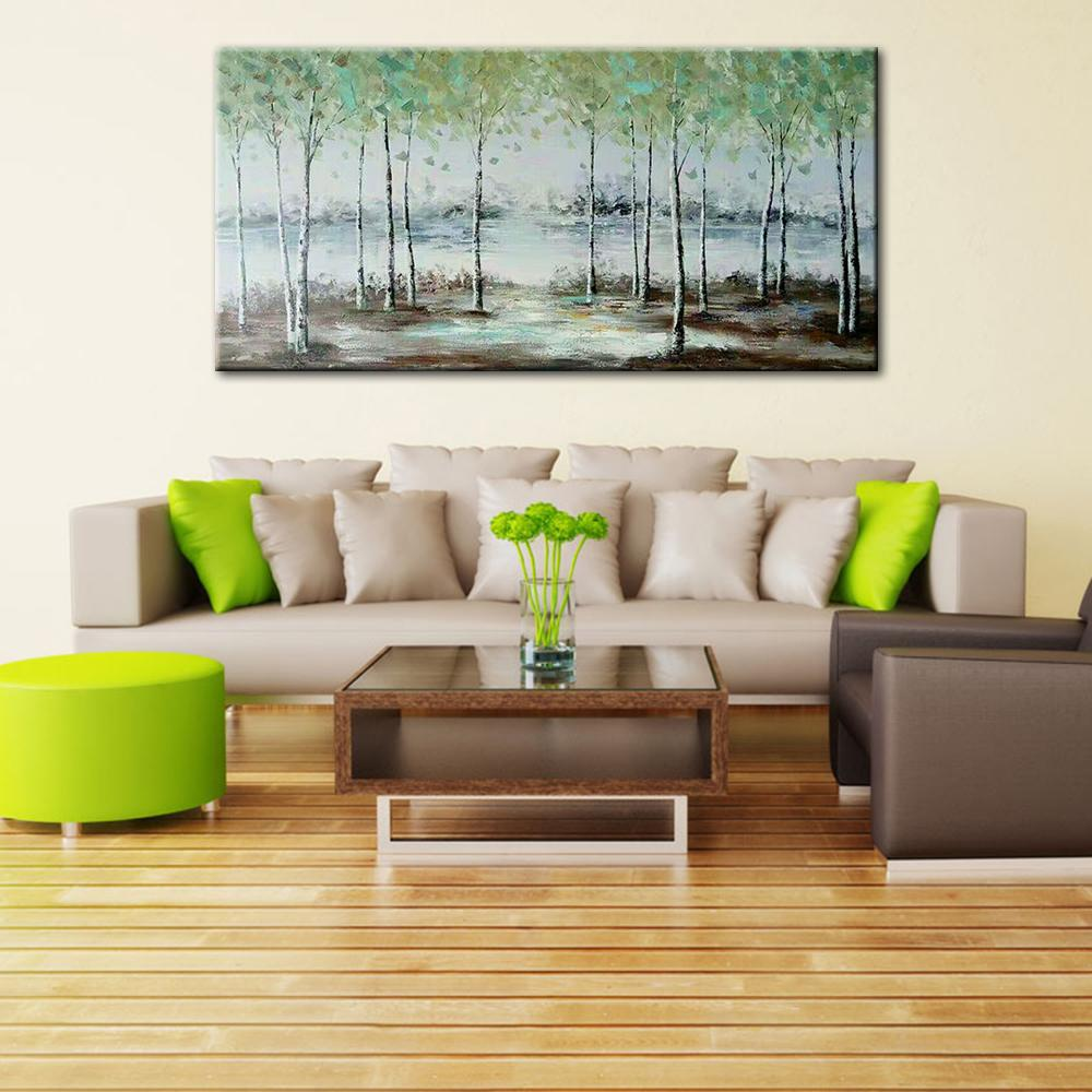 Hand Painted Green Forest Oil Painting Trees Wall Picture Large Canvas Art Living Room Bedroom Decoration