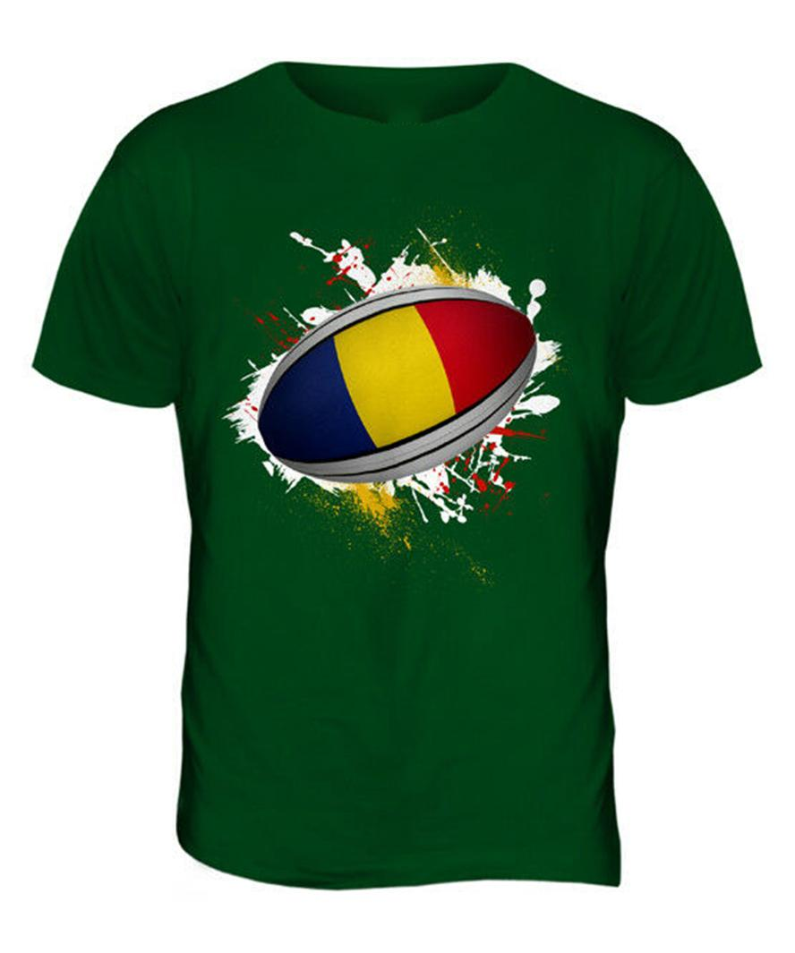 Romania Rugby Ball Splatter Mens T-Shirt Tee Top Giftworld Cup Sport Harajuku Hip Hop Tee Shirt