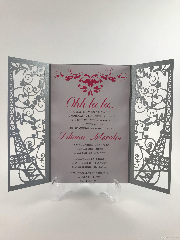Laser Cut Paris Themed Wedding Invite