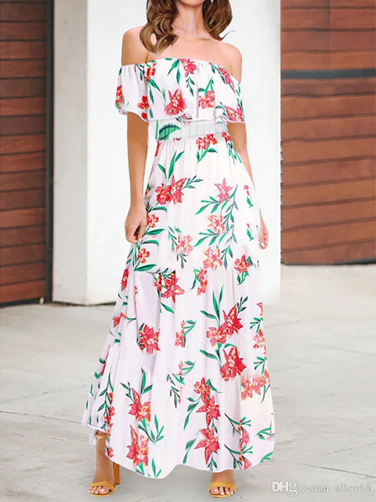 44d4b08966b5 New 2019 Trendy Women Dress Off Shoulder Boho Floral Print Beach Ruffle  Lady Party Sleeveless Polyester Maxi Dresses Shirt Dresses Fashion Dress  From ...
