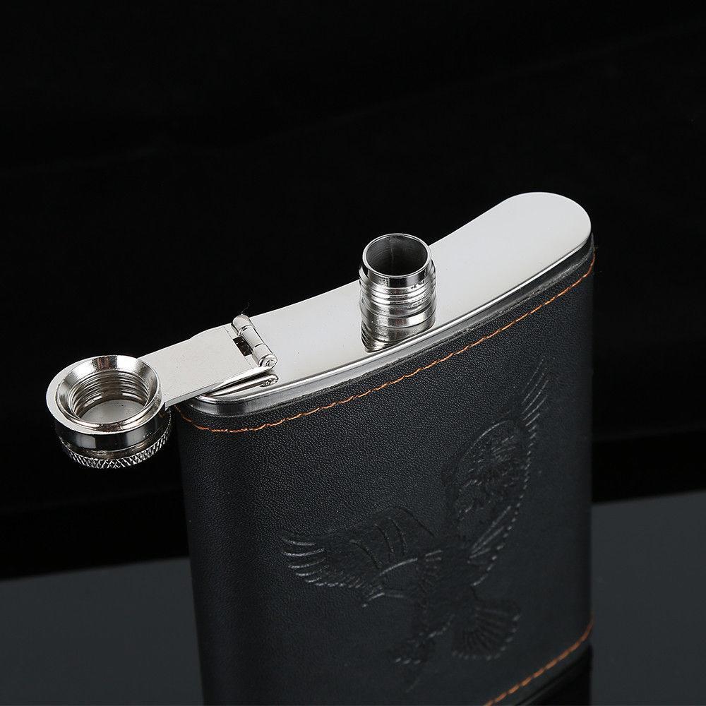 Hip acier inoxydable d'alcool whisky alcool Flask Cap 7,8,9oz Pocket bouteille de vin