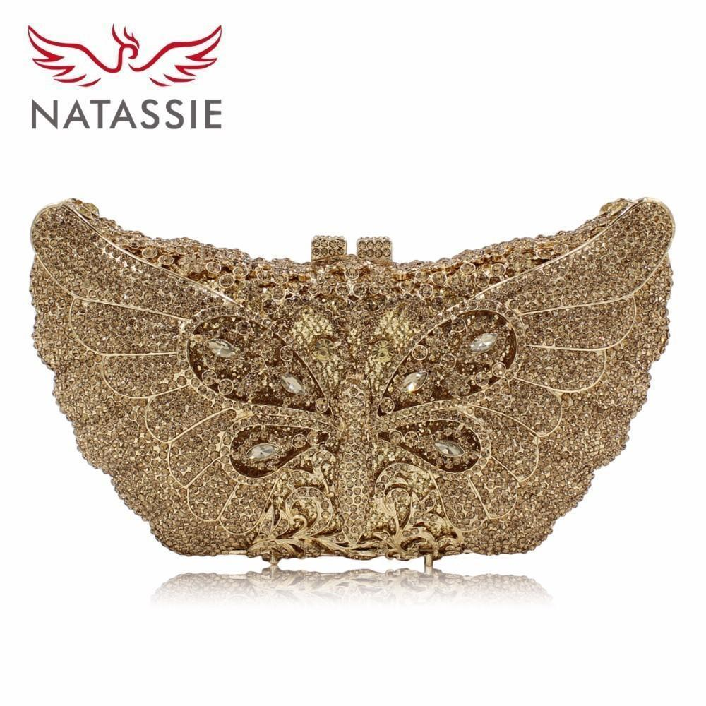 Natassie Women Luxury Dragonfly Shape Evening Bag Lady Diamonds Clutch Purses Female Party Wedding Bags