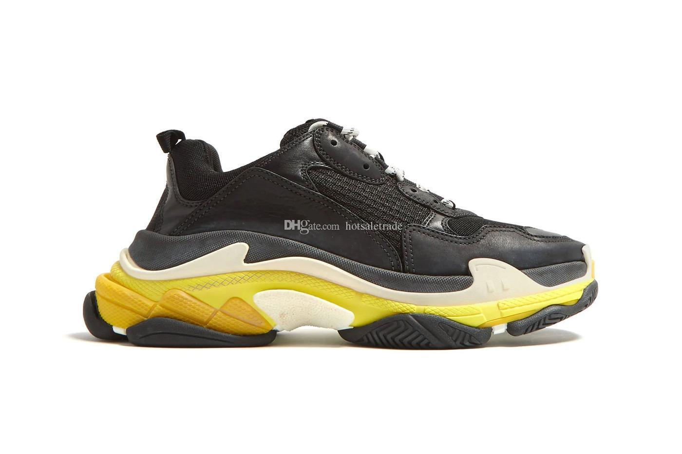Triple Designer S Black/Yellow Casual Shoes Men popular chunky sneaker Men Women Triple S Trainers with translucent soles
