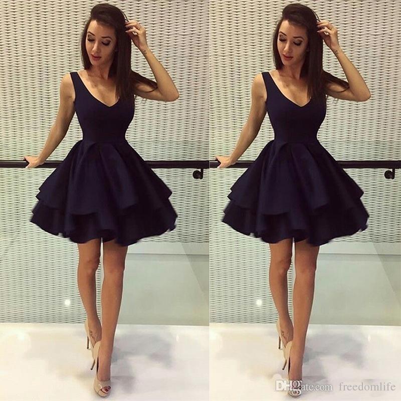 Cheap Little Black Prom Dresses Deep V Neck Satin 8th Grade Party