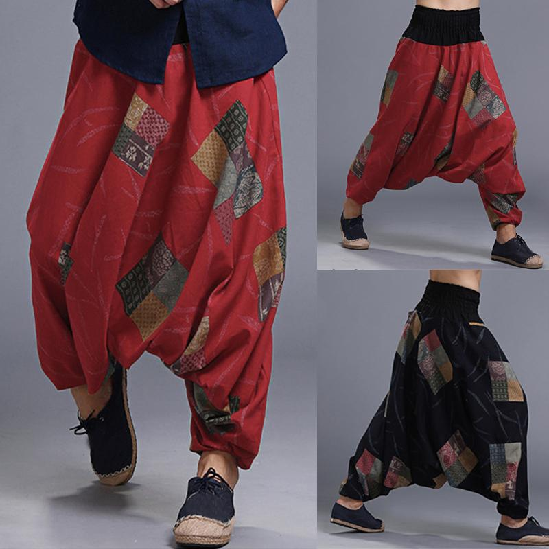 aeeebeaf5 Loose Men's Harem Pants Baggy Floral Big Crotch Cross Casual Trousers  Joggers HipHop Male Retro Chinese Harem Pants Sweatpants Pants Online with  ...