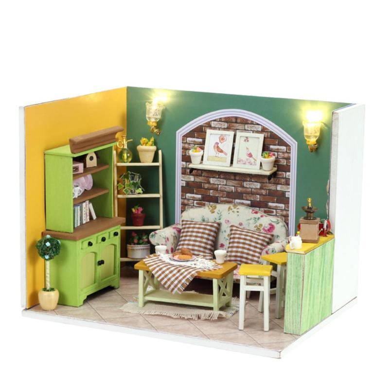 3d Diy Doll House Wooden Miniature Dollhouse Furniture Kit Assembly Educational Toy Diy Wooden Doll Houses Christmas Gift
