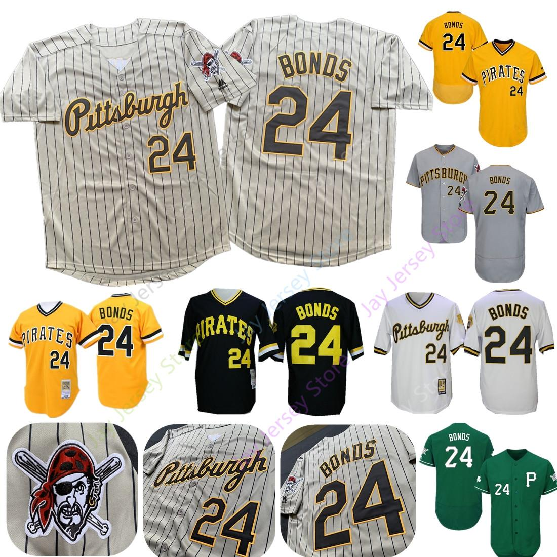 56e711d477 Barry Bonds Jersey 2019 New Pittsburgh Cooperstown Pirates Grey Pinstripe  Yellow Black Pullover Home Away Cool Base All Stitched Cheap