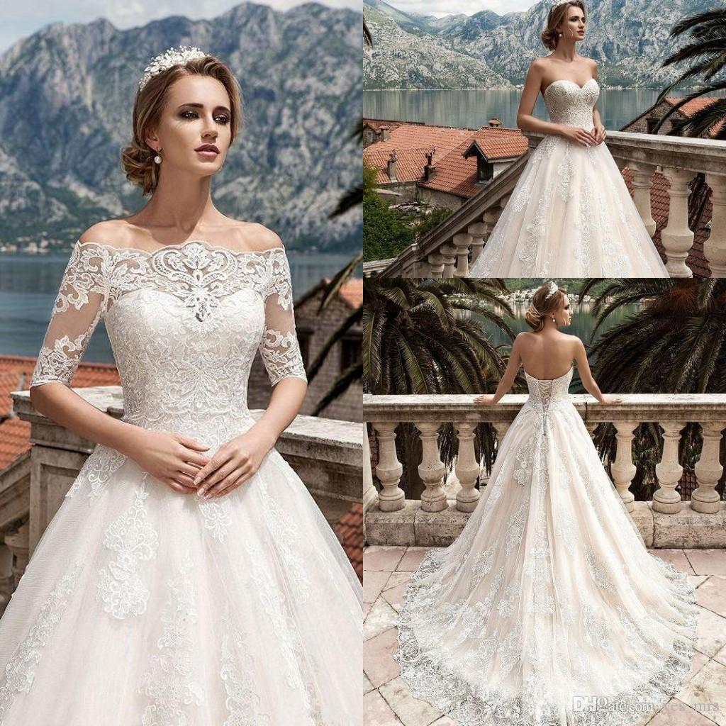 Cheap Wedding Dresses Sweetheart Illusion Half Sleeves Lace Appliques Sweep  Train A Line Formal Plus Size Bridal Gowns With Jacket