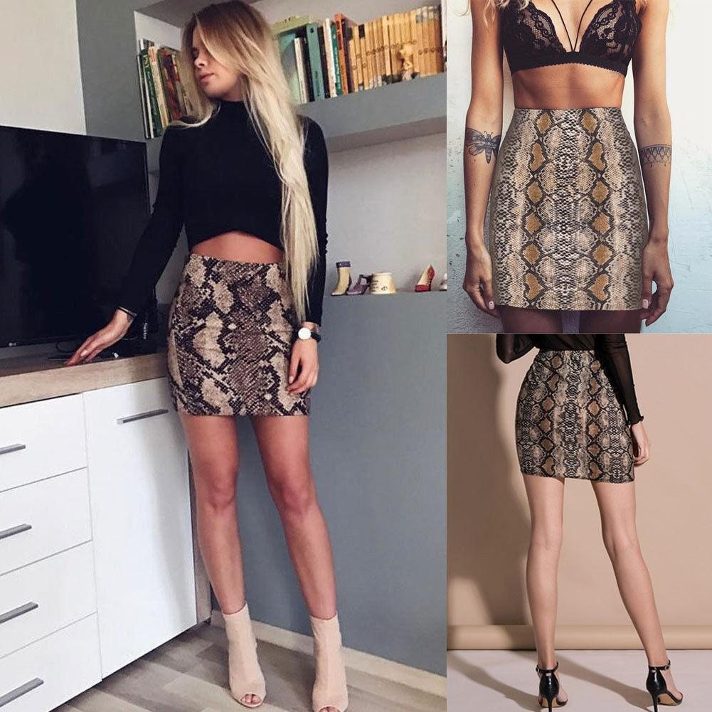 01051ebed1 2019 Women Ladies Summer Hot Fashion High Waisted Bodycon Short Skirts  Elastic Snake Skin Printed A Line Mini Skirts Plus Size XL From Dayup, ...