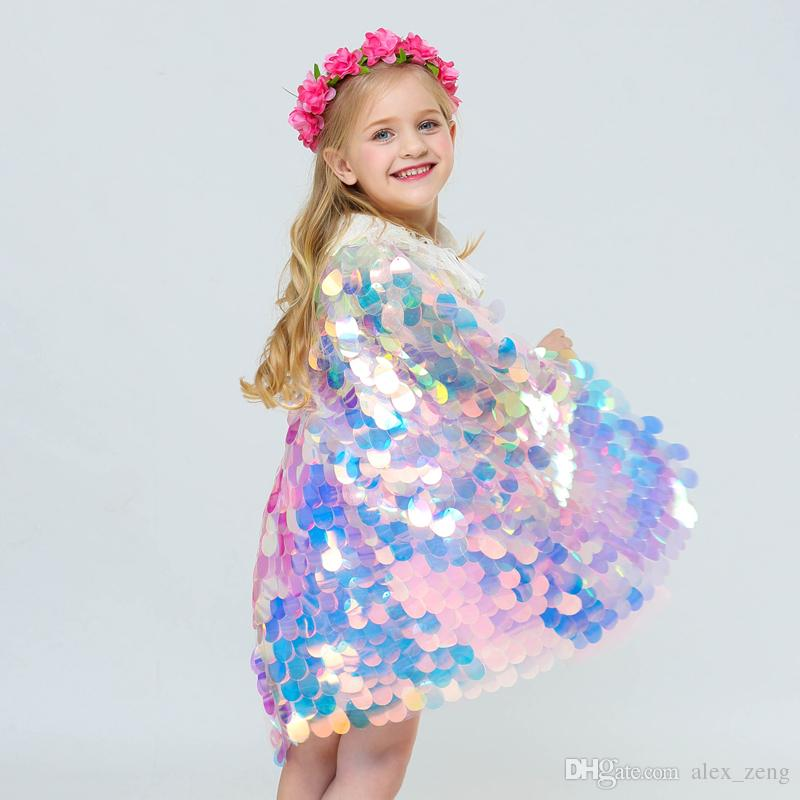 2019 Mermaid Cape Glittering Baby Girls Princess Cloak Colorful Lequins Boutique New Halloween Party Cape Costume cosplay props