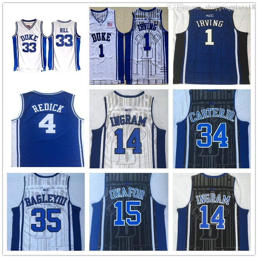 promo code 48a22 acd7b NCAA Duke Blue Devils 4 JJ Reddick 1 Irving 14 Ingram 33 Hill 34 Carterjr  35 Bagley III 15 Okafor College Basketball Jerseys