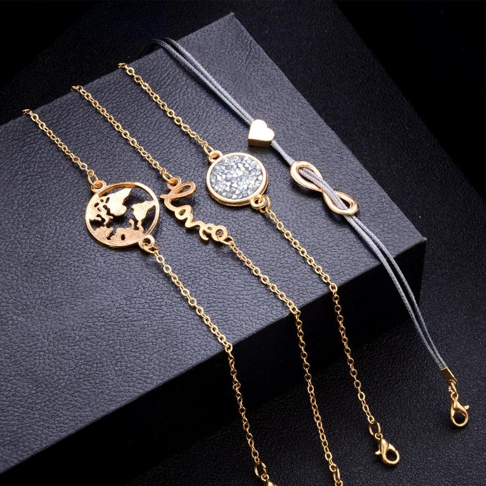 / Set Boho Tortue Charme Bracelets Ensembles Femmes Bohémien Artificielle Pierre Naturelle Perles Bracelet Carte Multi-couche Bracelets
