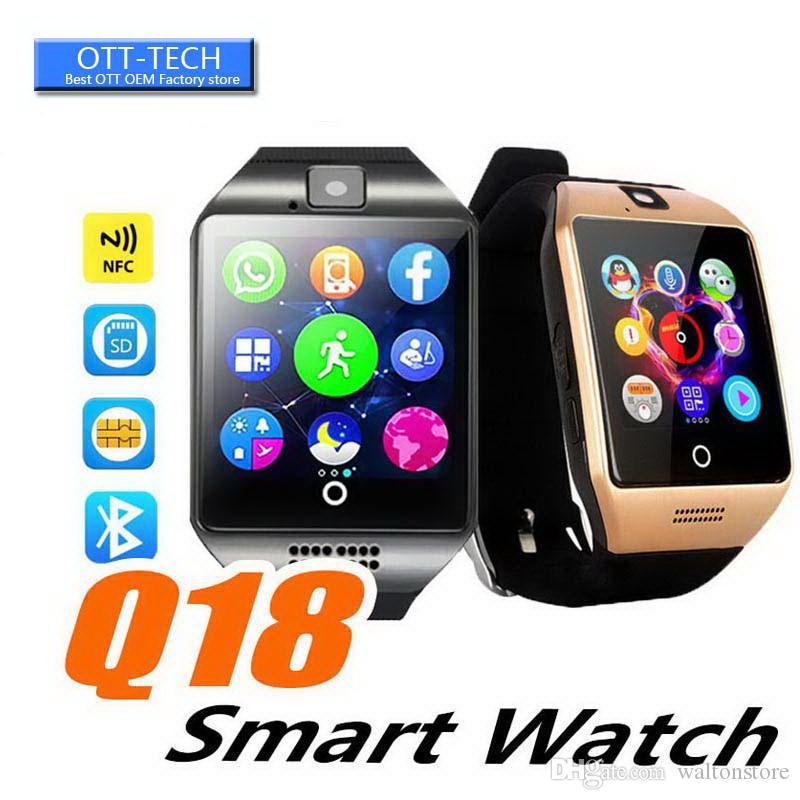 Smart Watch Phone Q18 Arc Clock Support SIM TF Card GSM Bluetooth Smartwatch Sport With Camera for iPhone Android Phone PK M26 DZ09 GT08