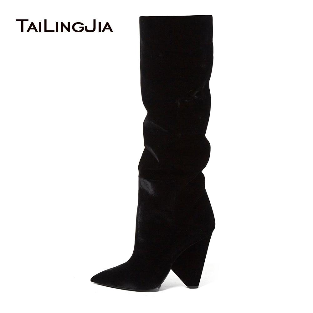 e59261dc5 Fashion Pointed Toe Ladies Long Tall Boots 2018 Black Velvet High Cone Heel  Wedge Over The Knee Shoes Winter Slouch Boots Women