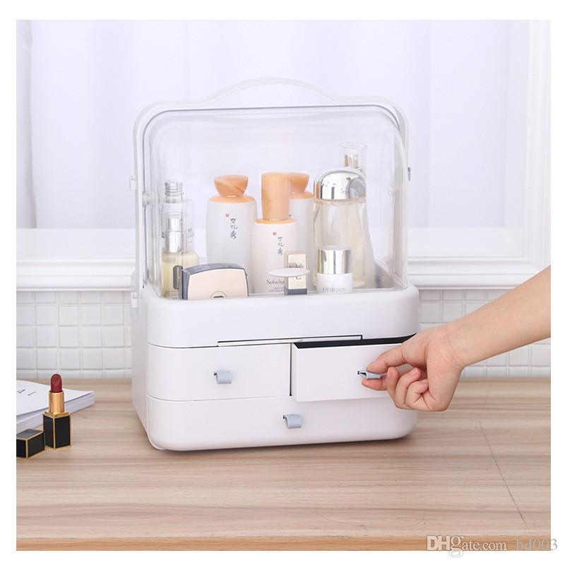 Fashion Women Jewelry Cosmetic Organizer Durable Plastic Makeup Container Easy To Carry Drawer Type Desktop Storage Box Sturdy 65rj BB