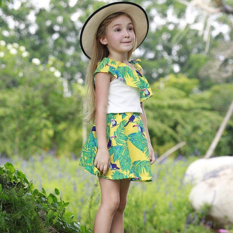 2119978ba Christmas Birthday Girl Dress Clothing Set 2019 Summer Baby Girls Flower  Decoration Tops+Green Skirt Children Clothes Set