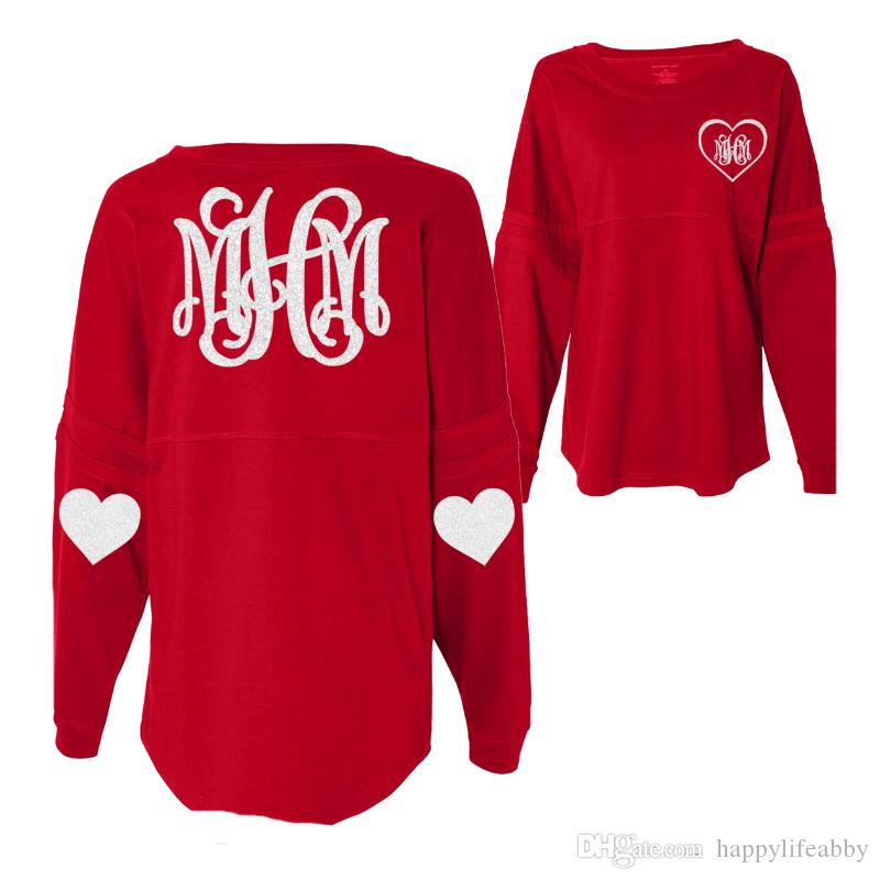 a77837b17b Spring women Monogrammed Valentines Day Jersey heart patch Valentines Long  Sleeve heart shape blank style tunic loose pom jersey shirts