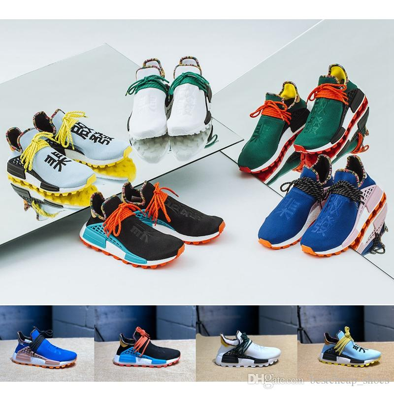 73bf95d0cc43c 2019 Authentic Pharrell Williams NMD Human Race Hu Inspiration Pack Mens  Running Shoes Black Blue Orange Clear Sky Womens Sneakers With Box From ...