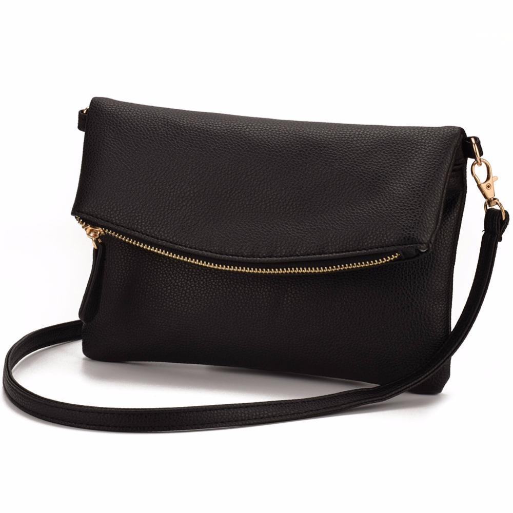 JIARUO Small Leather Crossbody bag For Women Messenger bag Shoulder bag Handbag Fold Cover Flap Envelope bags With front Pocket