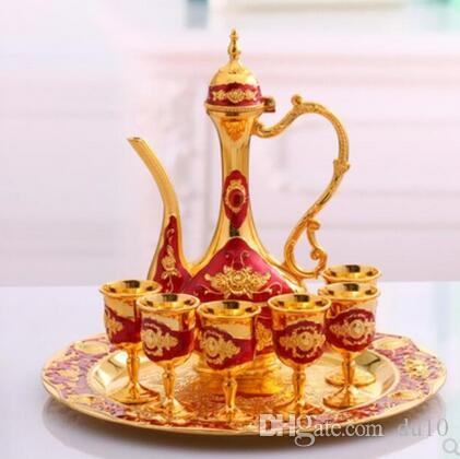 Golden Rose White Base Gold Red-bottomed Phnom Penh Golden Russia Liquor Cup Set Creative Household Alcohol metal wine pot gift