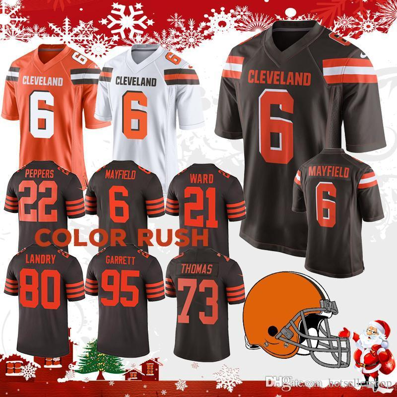 b9ac51917cb 2019 Cleveland Jersey Browns 6 Baker Mayfield Football Jerseys 21 Denzel  Ward 80 Jarvis Landry Color Rush 95 Myles Garrett 31 Nick Chubb 22top Sa  From ...