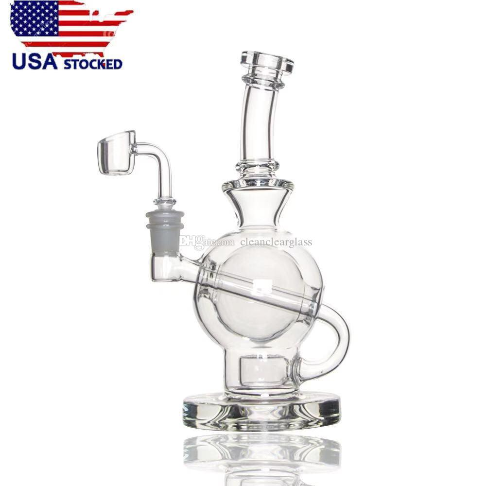 USA Stocked Glass Bong CCG Ball Rig with Flower of life perc 8 5 inch  height 14 5mm joint