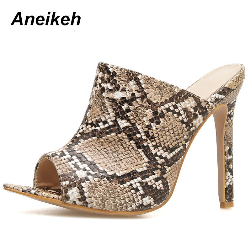 3b683e9274fb Dress Aneikeh 2019 Summer Shoe Leopard Stiletto High Heel Slippers Sandals  Woman Shoes Sexy Gladiator Open Toe Party Pumps Size 35 40 Mens Sandals  Mens ...