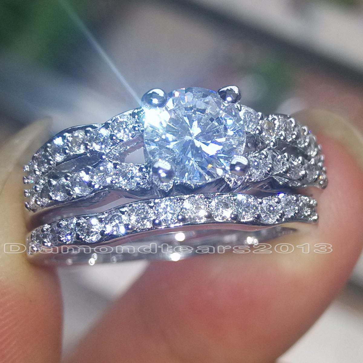 Size 6/7/8/9/10 Fashion jewelry 10kt white gold Filled white Topaz Gem women Wedding Ring set for love gift