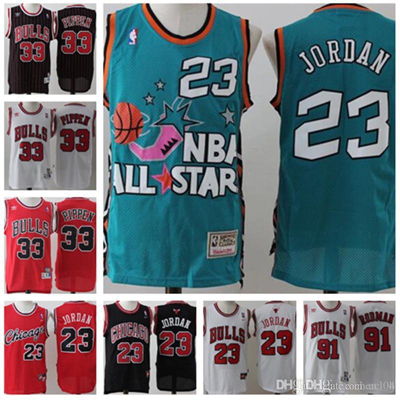 best service 40c93 3e720 Men's Retro Mesh 23 Michael Jersey Chicago 91 Dennis # Rodman Bulls Jersey  Men's Scottie 33 Pippen Jerseys stitched