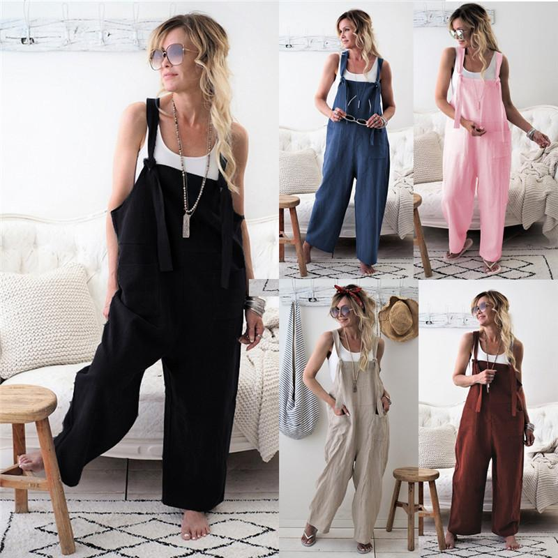 Summer Women Jumpsuit One Piece Pants Sleeveless Rompers Designer Loose Pocket Pants Ramie Cotton Bodysuit Jumpsuits Trousers Hot Style