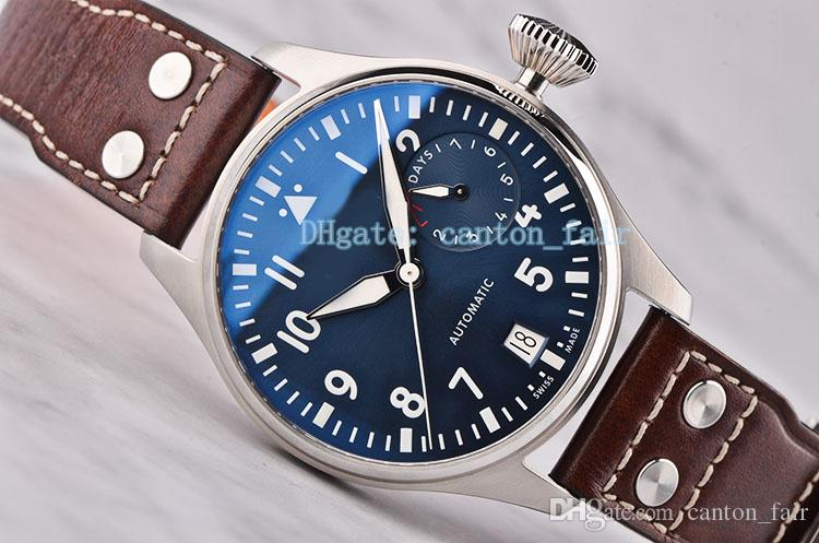Best Edition Luxury Wristwatch Big Pilot Midnight Blue Dial 7day i w500916 Cal.51111 Automatic Men's Watch 46MM Mechanisch Mens Watch