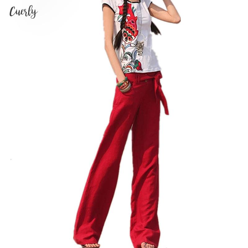 2019 Free Pants Better Linen Straight Loose Solid Color Wide Leg Pants Midweight Casual Women Pants Xxl Red Trousers L6