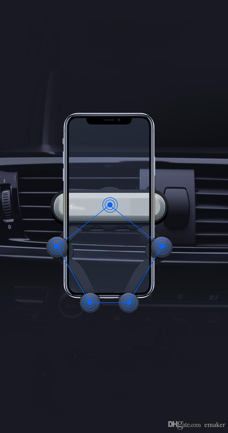 Vends Air Vent Mount Mobile Smart Phone Holder Support de voiture Support de détection de la gravité Dans l'emballage de détail 60pcs / lot