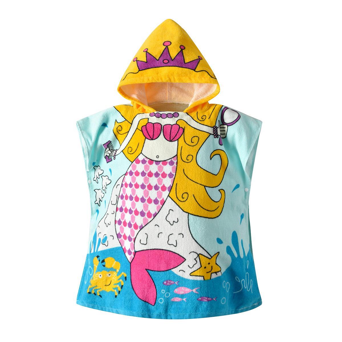 292101abaee8ef 19 anos novo roupão infantil bebê sereia impresso algodão com capuz casaco  com capuz manto bebê toalha de banho