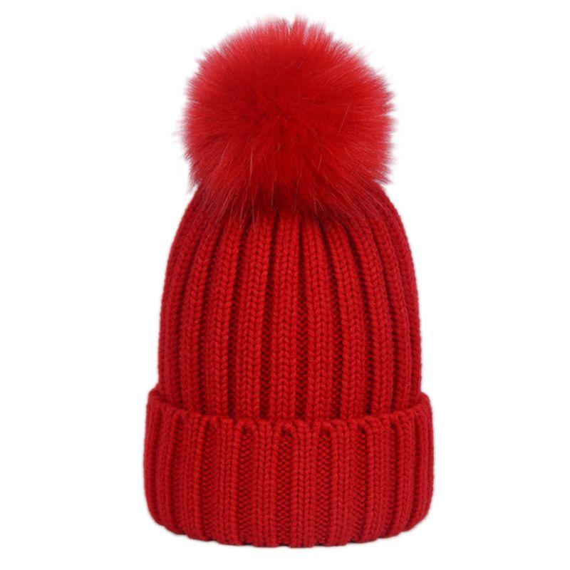da716019a2f Unisex Winter Ribbed Knitted Hat Plain Woolen Cap With Cute Fluffy Pompom  Ball Beanie With Detachable Chunky Faux Fur W15 UK 2019 From Emmanue