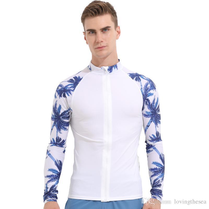 20a46f72e36 ... 2019 Sbart 2018 White Rashguard For Men Long Sleeve Swimsuit UV