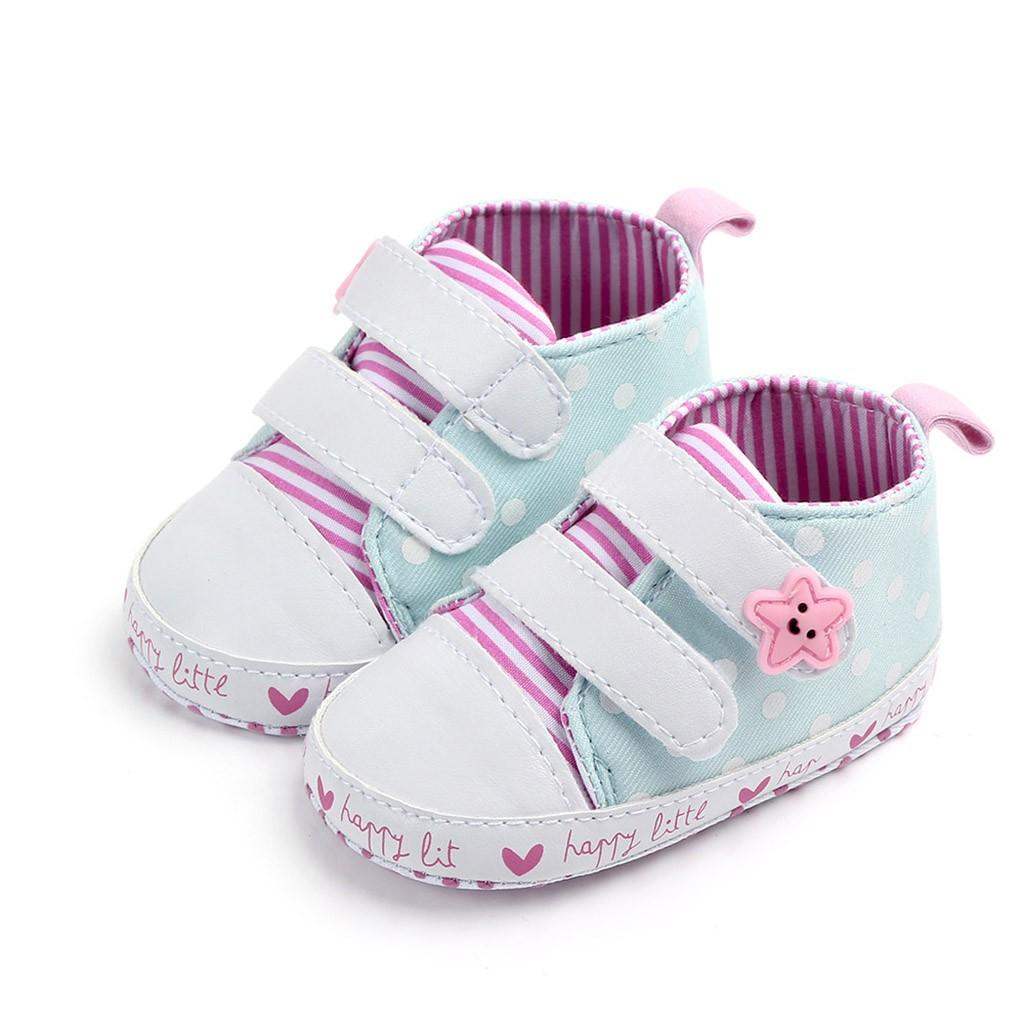 ARLONEET 2019 Newborn Baby Girls Striped Star Dot Canvas First Walkers Soft Sole Shoes Sneakers Kids Infant Toddler Shoes