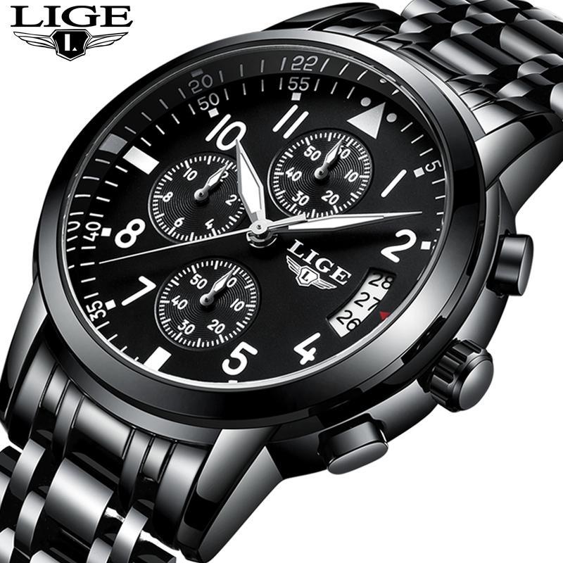 ab92aa4b213 Relogio Masculino LIGE Mens Watches Top Brand Luxury Fashion Business  Quartz Watch Men Sport Full Steel Waterproof Black Clock Watch Deals Online  Wrist ...