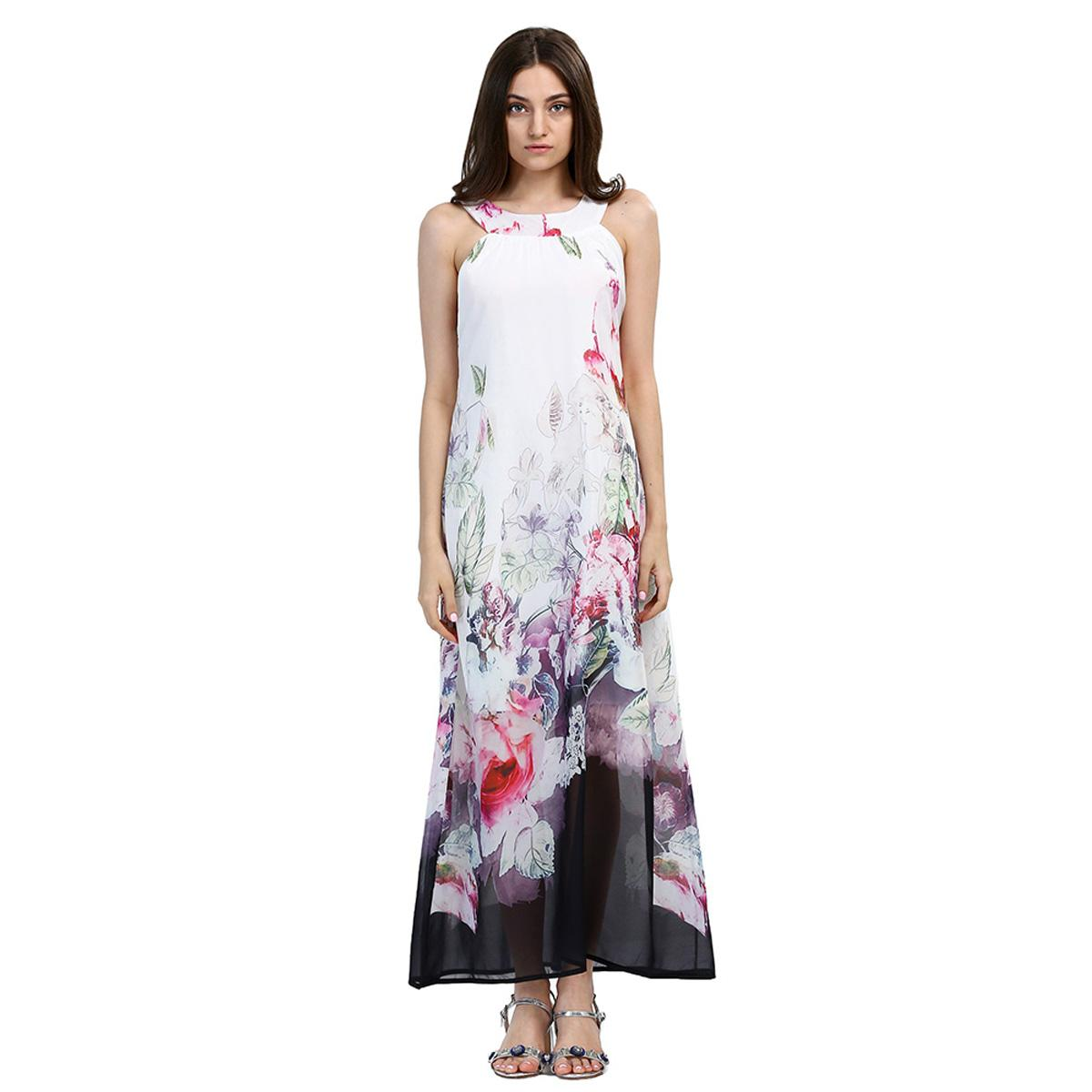 2019 Beach Boho Maxi Dresses Print Floral Plus Size Bar Party White Long  Dress Sleeveless Summer Sundress Vestidos Beachwear Tunics Robe New