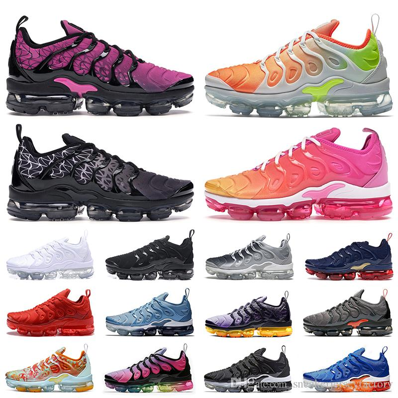 nike air vapormax plus tn plus 2019 Laufschuhe Weiß Dreibettzimmer Schwarz Sunset Grape In USA Roter Regenbogen Silber Mens Womens Sport Kinder Designer Turnschuhe
