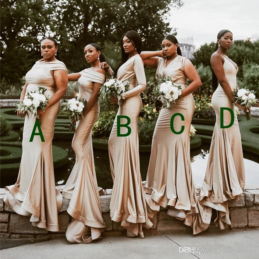 50dab7669ab4 South African Nigeria Girls Mermaid Bridesmaid Dresses For Weddings 2019  Mixed Styles Pleats Ruffles Long Wedding Guest Dress Custom Made Bridesmaid  Dress ...
