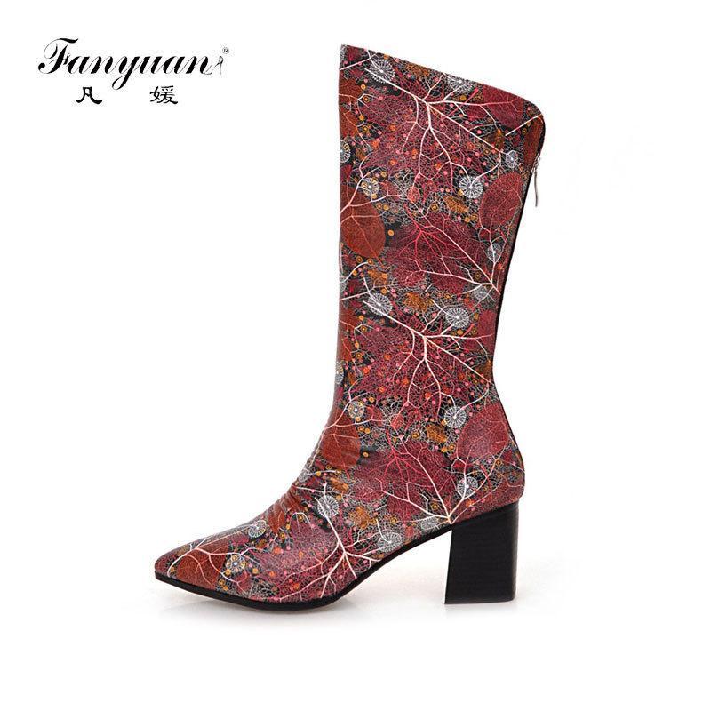 70cf7f393c Compre Fanyuan Patente De Couro Dedo Apontado Meia Botas De Flores  Impressão Mid Bezerro Botas De Salto Alto Cavaleiro Botas Sapatos Mujer  Mulheres De Ycqz4 ...
