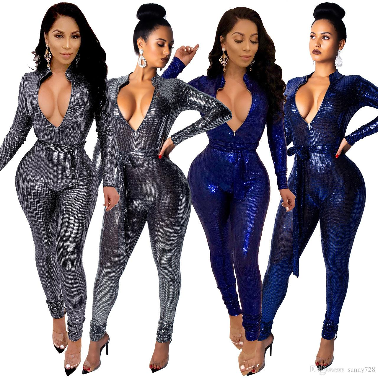 3fbff0fe61ec 2019 Hot Latest Blingbling Sequins Women Party Jumpsuits Rompers Sexy Deep  V Neck Long Sleeves Sash Skinny Club Pants Outfits Blue Silver Sexy Women  ...
