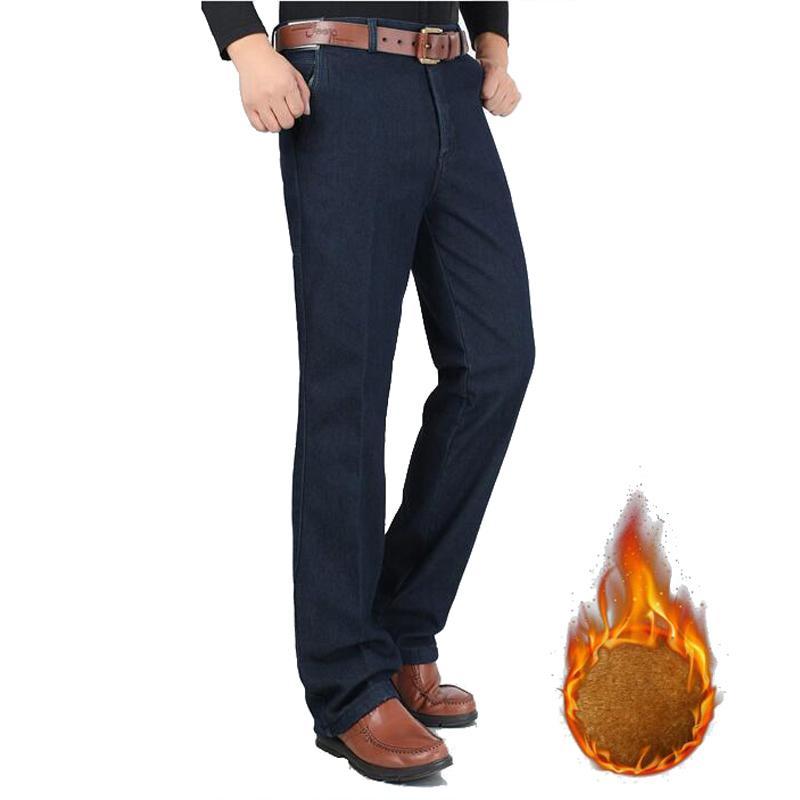 8d15c38a4 Compre Pantalones Vaqueros De Invierno Para Hombres Fleece Espesar Pantalones  De Mezclilla Pantalones Rectos De Cintura Alta Para Hombre Pantalones De  Jean ...